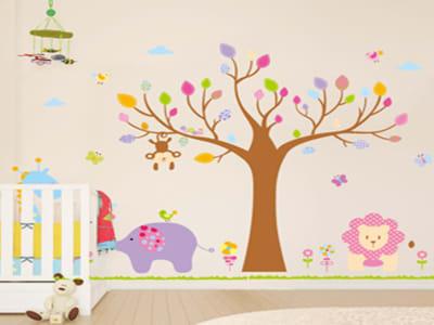 Animales Coloridos para niños Adhesivo, Tamaño Grande, Desmontable, Decoración de Habitación Hogar