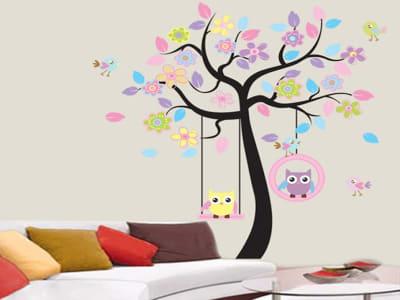 Árbol de Búhos Colorido Adhesivo, Tamaño Grande, Desmontable, Decoración de Habitación Hogar