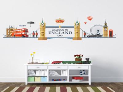 Inglaterra Adhesivo, Tamaño Grande, Desmontable, Decoración de Habitación Hogar