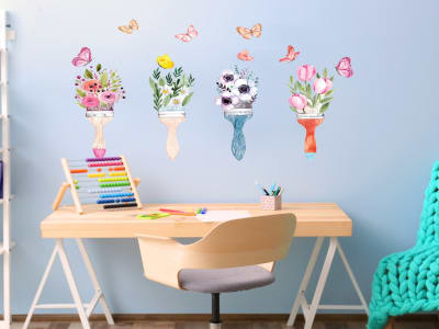 Cepillo de Flores Adhesivo, Tamaño Grande, Desmontable, Decoración de Habitación Hogar