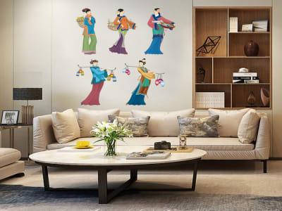Mujer Asiática Adhesivo, Tamaño Grande, Desmontable, Decoración de Habitación Hogar