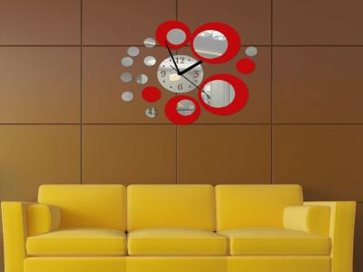 Reloj Pared 3D Quartz, Efecto Espejo, Alta Calidad, Decorativo y Funcional, Hogar, Oficina, etc