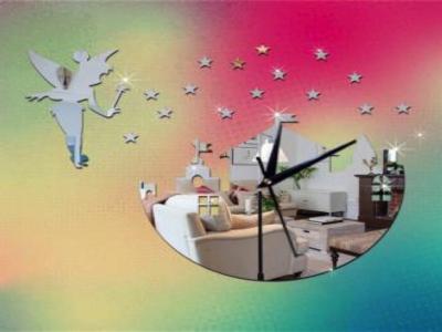 Hadas, Ciudad y Estrellas, Reloj Pared 3D Quartz, Efecto Espejo, Alta Calidad, Decorativo y Funcional, Hogar, Oficina, etc