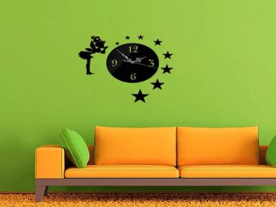 Hadas y Estrellas, Reloj Pared 3D Quartz, Efecto Espejo, Alta Calidad, Decorativo y Funcional, Hogar, Oficina, etc