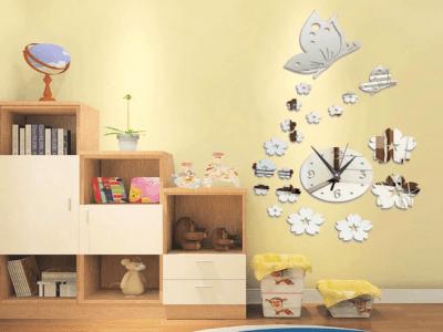 Mariposas y Flores, Reloj Pared 3D Quartz, Efecto Espejo, Alta Calidad, Decorativo y Funcional, Hogar, Oficina, etc