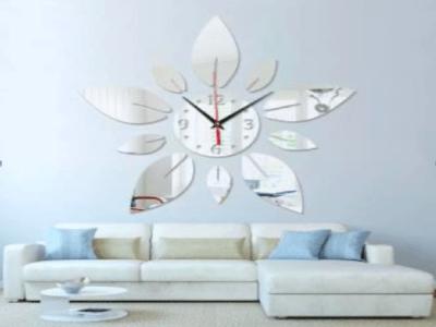 Moderno Flores, Reloj Pared 3D Quartz, Efecto Espejo, Alta Calidad, Decorativo y Funcional, Hogar, Oficina, etc