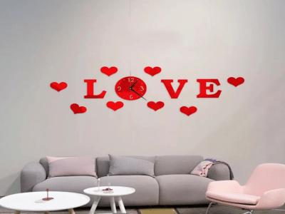 Amor y Corazones, Reloj Pared 3D Quartz, Efecto Espejo, Alta Calidad, Decorativo y Funcional, Hogar, Oficina, etc