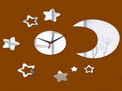 Luna y Estreallas, Reloj Pared 3D Quartz, Efecto Espejo, Alta Calidad, Decorativo y Funcional, Hogar, Oficina, etc