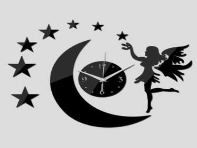 Hadas, Luna y Estrellas, Reloj Pared 3D Quartz, Efecto Espejo, Alta Calidad, Decorativo y Funcional, Hogar, Oficina, etc