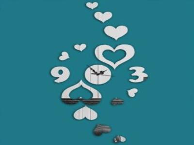 Corazones, Reloj Pared 3D Quartz, Efecto Espejo, Alta Calidad, Decorativo y Funcional, Hogar, Oficina, etc