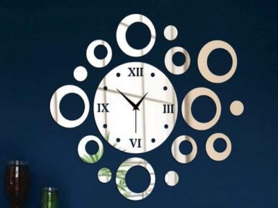 Moderno Circulo, Reloj Pared 3D Quartz, Efecto Espejo, Alta Calidad, Decorativo y Funcional, Hogar, Oficina, etc