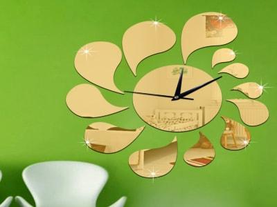 Gota de Agua, Reloj Pared 3D Quartz, Efecto Espejo, Alta Calidad, Decorativo y Funcional, Hogar, Oficina, etc