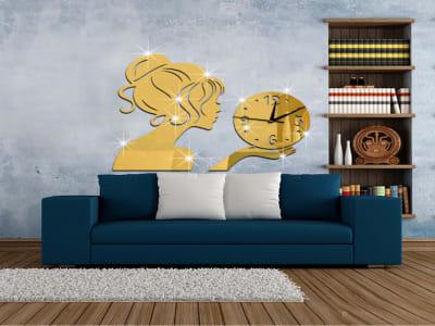 Cara de Niña, Reloj Pared 3D Quartz, Efecto Espejo, Alta Calidad, Decorativo y Funcional, Hogar, Oficina, etc