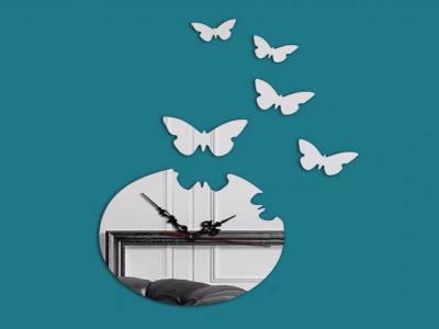 Mariposas, Reloj Pared 3D Quartz, Efecto Espejo, Alta Calidad, Decorativo y Funcional, Hogar, Oficina, etc