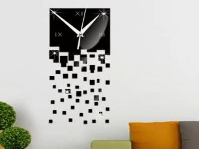 Cuadrados Cayendo, Reloj Pared 3D Quartz, Efecto Espejo, Alta Calidad, Decorativo y Funcional, Hogar, Oficina, etc