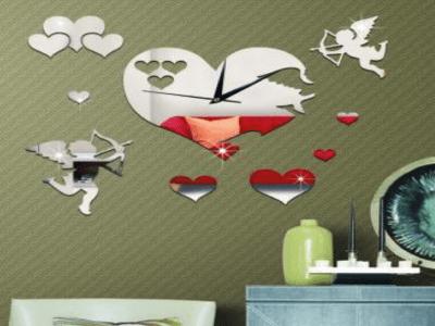 Cupido, Reloj Pared 3D Quartz, Efecto Espejo, Alta Calidad, Decorativo y Funcional, Hogar, Oficina, etc
