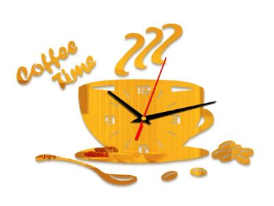 Hora del Café, Reloj Pared 3D Quartz, Efecto Espejo, Alta Calidad, Decorativo y Funcional, Hogar, Oficina, etc