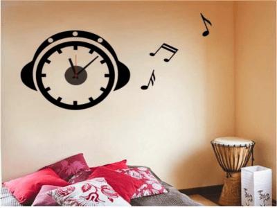 Cascos de Musica, Reloj Pared Quartz, Vinilo Alta Calidad, Decorativo y Funcional, Hogar, Oficina, e