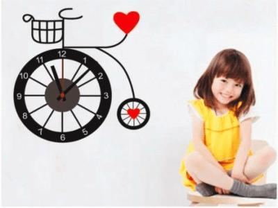 Bicicleta con Amor, Reloj Pared Quartz, Vinilo Alta Calidad, Decorativo y Funcional, Hogar, Oficina,