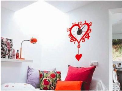 Corazón Rojo, Reloj Pared Quartz, Vinilo Alta Calidad, Decorativo y Funcional, Hogar, Oficina, etc
