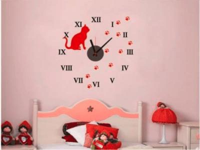 Gato Rojo, Reloj Pared Quartz, Vinilo Alta Calidad, Decorativo y Funcional, Hogar, Oficina, etc
