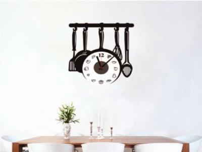 Utensilios de Cocina, Reloj Pared Quartz, Vinilo Alta Calidad, Decorativo y Funcional, Hogar, Oficin