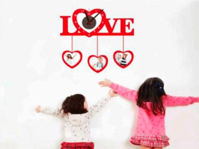 Amor, Reloj Pared Quartz, Vinilo Alta Calidad, Decorativo y Funcional, Hogar, Oficina, etc