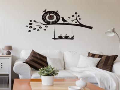Rama de Árbol con Pajaros, Reloj Pared Quartz, Vinilo Alta Calidad, Decorativo y Funcional, Hogar, O