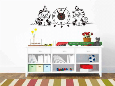 Fiesta de Gatos, Reloj Pared Quartz, Vinilo Alta Calidad, Decorativo y Funcional, Hogar, Oficina, et