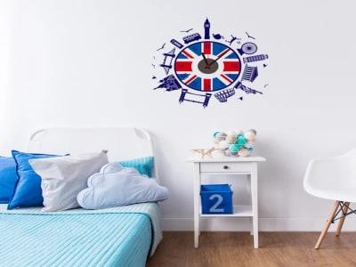 Inglaterra, Reloj Pared Quartz, Vinilo Alta Calidad, Decorativo y Funcional, Hogar, Oficina, etc