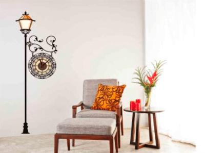 Farola Traditional, Reloj Pared Quartz, Vinilo Alta Calidad, Decorativo y Funcional, Hogar, Oficina,
