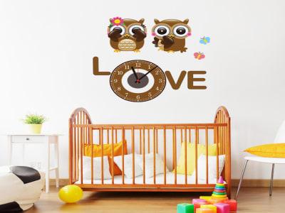 Buhos con Amor, Reloj Pared Quartz, Vinilo Alta Calidad, Decorativo y Funcional, Hogar, Oficina, etc
