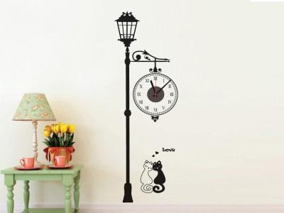 Gato enamorado debajo de una Farola, Reloj Pared Quartz, Vinilo Alta Calidad, Decorativo y Funcional