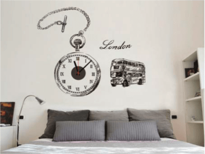 Autobus Londres, Reloj Pared Quartz, Vinilo Alta Calidad, Decorativo y Funcional, Hogar, Oficina, et