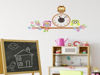 Niños y Búhos en el Arbol, Reloj Pared Quartz, Vinilo Alta Calidad, Decorativo y Funcional, Hogar, O