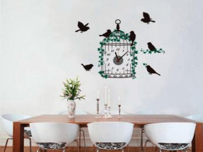 Pajarera, Reloj Pared Quartz, Vinilo Alta Calidad, Decorativo y Funcional, Hogar, Oficina, etc