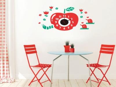 Manzana Roja, Reloj Pared Quartz, Vinilo Alta Calidad, Decorativo y Funcional, Hogar, Oficina, etc