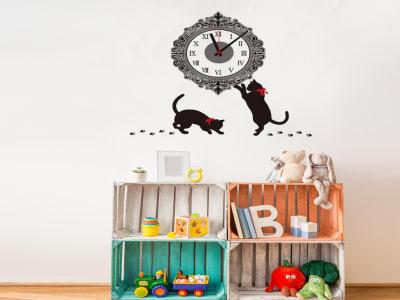 Gatos Jugando, Reloj Pared Quartz, Vinilo Alta Calidad, Decorativo y Funcional, Hogar, Oficina, etc