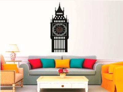 Big Ben, Reloj Pared Quartz, Vinilo Alta Calidad, Decorativo y Funcional, Hogar, Oficina, etc