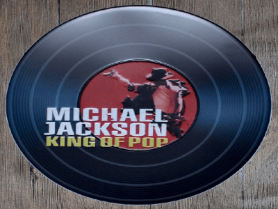 "LP ""King of POP"" de Metal en Relieve Vintage de Michael Jackson"