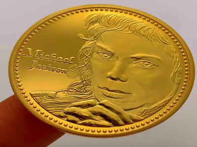 Moneda Conmemorativa Color Dorada de Michael Jackson, Ilustraciones en Relieve, Gran Detalle