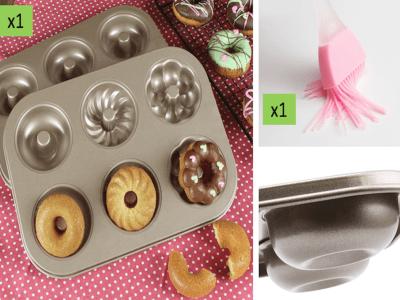 (Pack Molde Donut Acero Dorado+1pcs Pincel Silicona). Molde 6 Agujeros, Grado Alimenticio, Antiadher