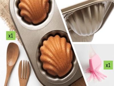 (Pack Molde Muffins Acero Dorado+1pcs Pincel Silicona). Molde 6 Agujeros, Grado Alimenticio, Antiadh