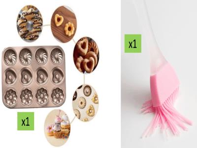 (Pack Molde 3 en 1: corazón, crisantemo, forma redonda Acero Dorado+1pcs Pincel Silicona). Molde 12