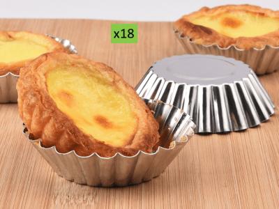 """Pack 18 piezas, Moldes de aluminio para tarta de 2.7""""/7 cm. Ideal para hornear cupcakes fácilmente"""
