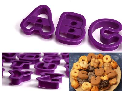 50 piezas, Juego de Cortadores de Plástico en forma de Letras del alfabeto + Numeros para galletas.
