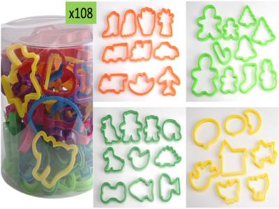 108 piezas, juego de Cortadores de Plástico de Diversas formas para Galletas, Alta Calidad