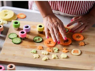 10 piezas, juego de Cortadores de Acero Inoxidable con Mango de Silicona, Frutas, Galletas, etc., Al