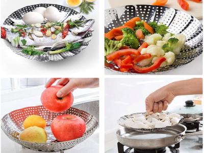 Cesta de Acero Inoxidable, Calidad Alimentaria para Vaporear Verduras, con Mango y Patas, Alta Calid
