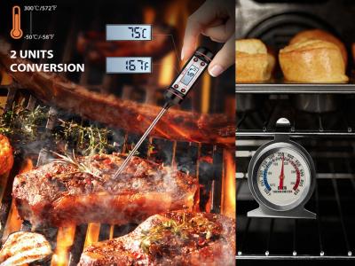 Pack 2 Piezas, 1pcs Termómetro de Horno 50-300°C/100-600°F ideal para Parrilla, Chef Ahumador, Hornear + 1pcs Termómetro de Cocina de Medición electrónica, Alta Calidad